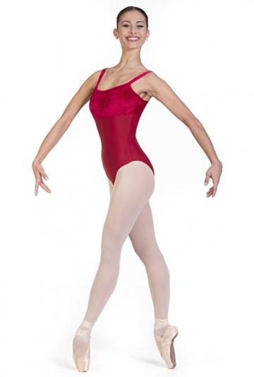 Body danza con scollatura in velluto