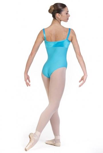 Maillot de ballet con tirantes y escote de terciopelo