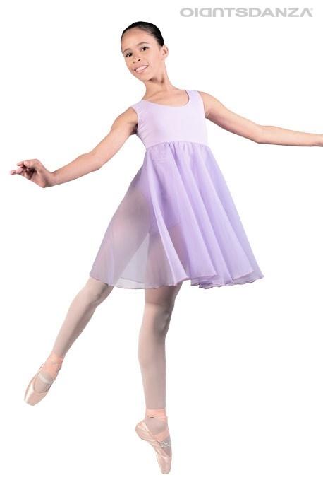 Vestido de ballet para niña falda hasta la rodilla cosida 5787f937452