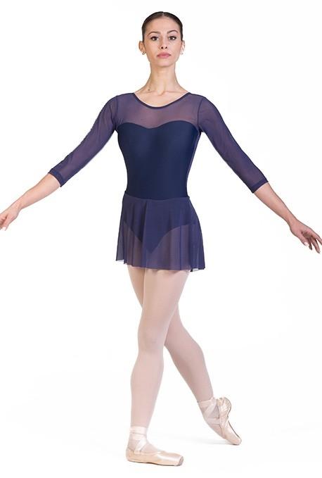 Maillot de danza con falda de malla elástica