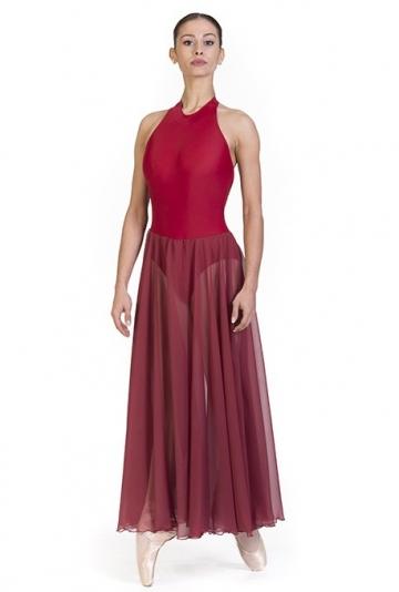 Maillot de danza con falda larga de gasa