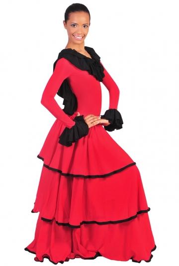 15ccdb3b2 Hermoso vestido de flamenca de vuelo cortado a telas con volantes
